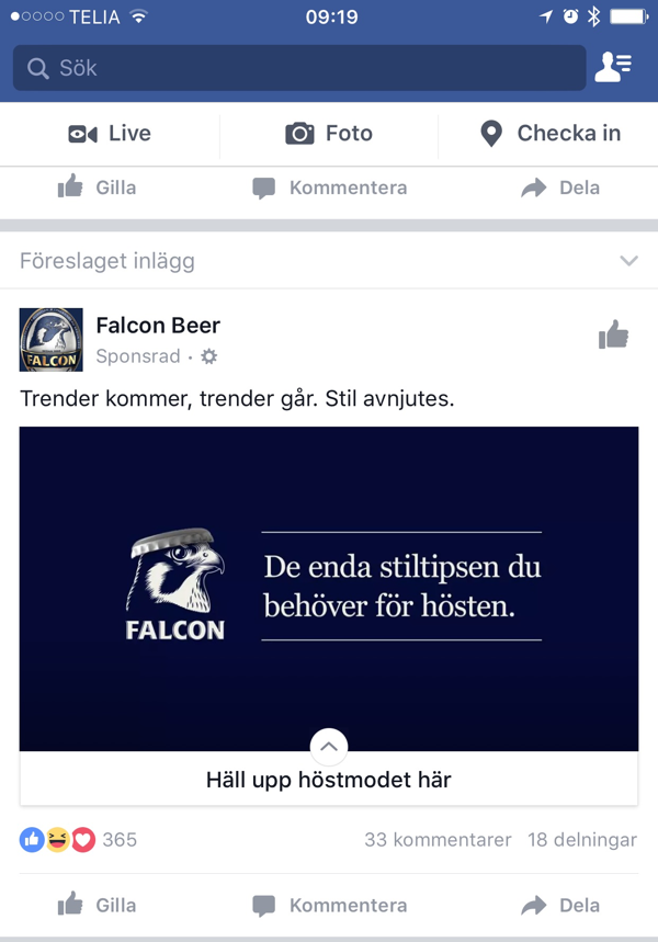 Facebook feed, canvas-annons