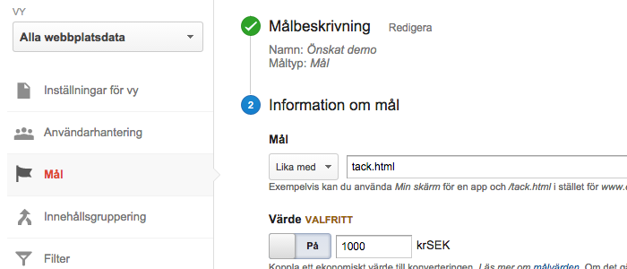 google analytics mål